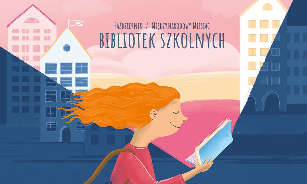 Plakat - październik miesiąc bibliotek szkolnych